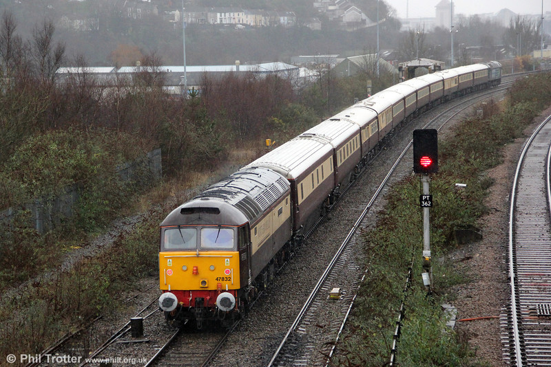 47832 'Solway Princess' at the rear of 1Z27, 1137 Newport to Fishguard Harbour 'Northern Belle' at Swansea on 19th December 2012.