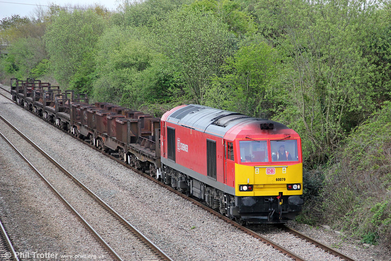 60079 passes Llandevenny with a short 6V92,  1023 Corby to Margam on 27th April 2012.