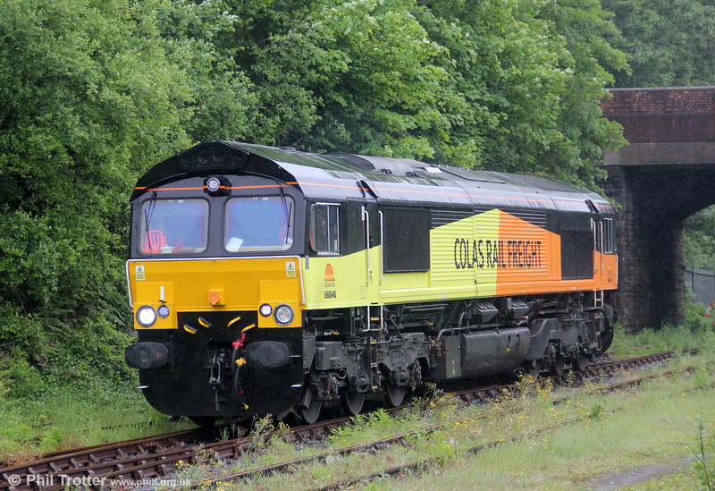 Colas Rail's 66846, formerly Freightliner 66573, in Briton Ferry Yard on 5th June 2012.