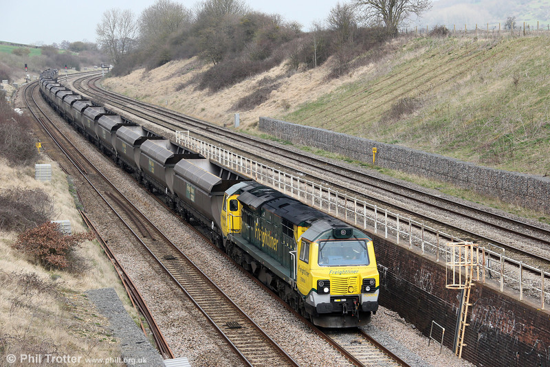 70006 passes Standish with 4V06, 0853 Rugeley Power Station to Stoke Gifford on 22nd March 2012.