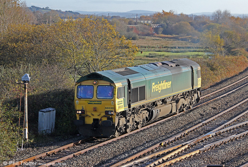 66530 is seen at Llandeilo Junction while running around its train on 11th November 2012.