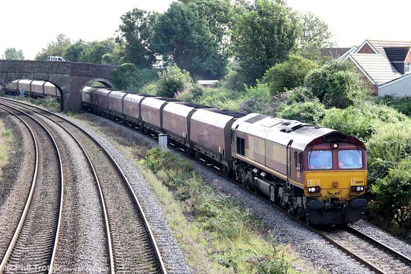 66169 is seen at Undy with 6B68, 0924 Avonmouth to Aberthaw Power Station on 20th August 2012.