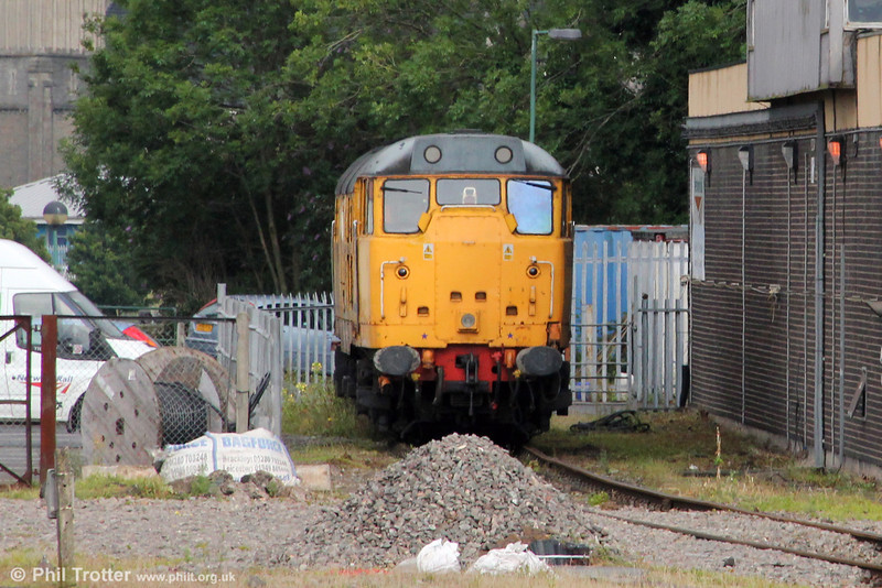 31602 is seen stabled at Cardiff Riverside awaiting its next move, on 14th July 2012.