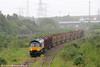 Colas Rail's 66846 pulls into Briton Ferry Yard to run around its train, 6Z51, 1600 Baglan Bay to Chirk (Kronospan) on 5th June 2012.