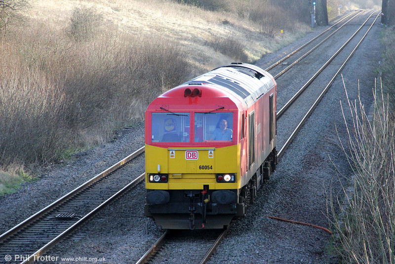 Rebuilt class 60 no. 60054 descends Stormy Bank running as 0H24, 1030 Llanwern to Margam on 7th January 2012.
