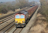 66067 passes Coedkernew with 6B04, 1423 Llanwern tio Margam empties on 1st March 2012.