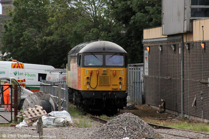 A second view of Colas Rail 56094 stabled at Cardiff Riverside on 25th September 2012.