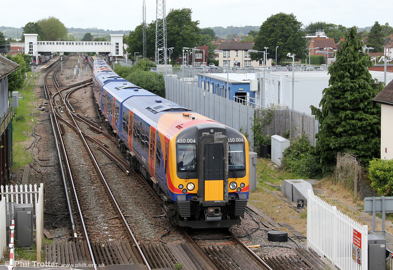 SWT's 450004 departs from Havant forming 2P42, 1224 Portsmouth & Southsea to London Waterloo on 23rd June 2012.