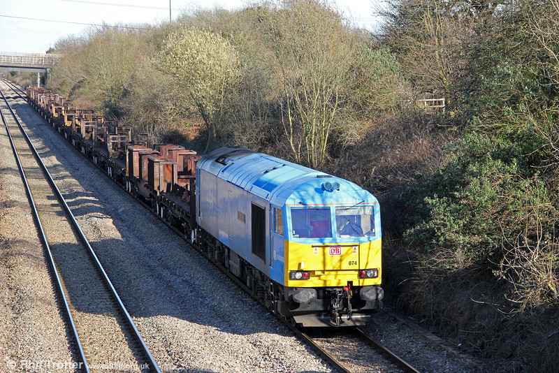 60074 'Teenage Spirit' yet again, now at Llandevenny with 6V92, 1018 Corby to Margam on 19th March 2012.