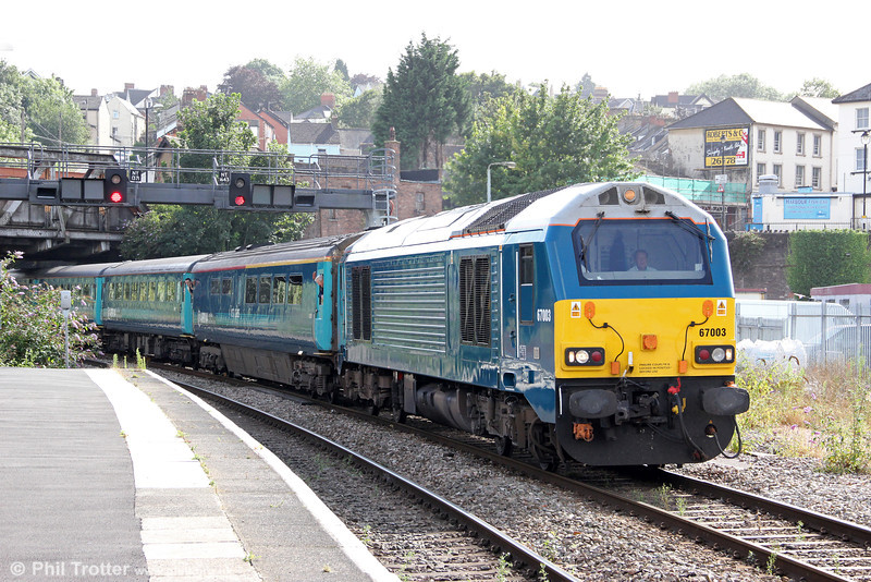 67003 arrives at Newport with 1W91, 1615 Cardiff to Holyhead on 15th August 2012.