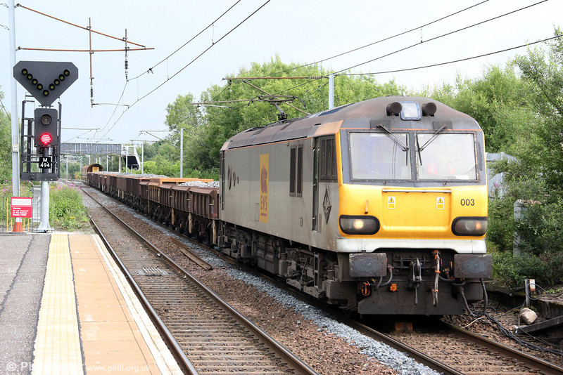 92003 'Beethoven' passes Holytown with 6S51, 1216 Carlisle Yard to Mossend departmental on 6th August 2012.