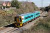 Unrefurbished 158829 passes Portskewett forming 2L53, 1045 Cheltenham Spa to Maesteg on 19th March 2012.