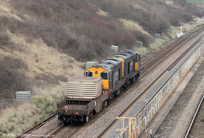 DRS 20308 and 20309 head north at Standish with 6M56, 1343 Berkeley Power Station to Crewe nuclear flask on 22nd March 2012.