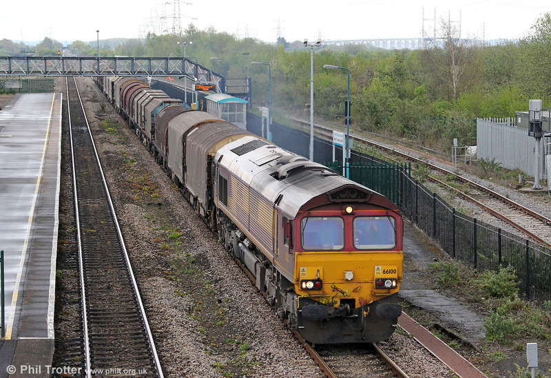 66100 at Severn Tunnel Junction heading 6V05, 0910 Round Oak to Margam on 27th April 2012.
