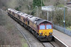 Convoy 0B17, 1100 Margam to Newport ADJ heads down the Maesteg Branch towards Bridgend from Tondu on 21st January 2012.