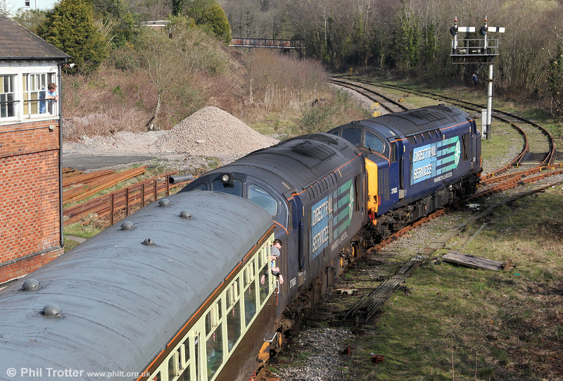 The signalman looks on as 37603 and 37606 head onto the Garw Loop at Tondu with 'The Coal Grinder' railtour on 24th March 2012.