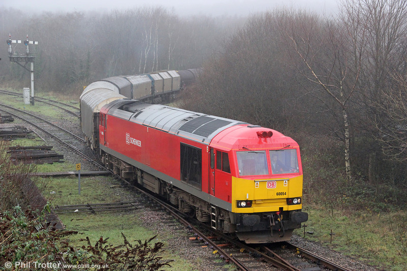 A second view of 60054 emerging from the fog on the Garw Loop at Tondu with 6H25, 1034 Margam to Llanwern on 8th January 2012.