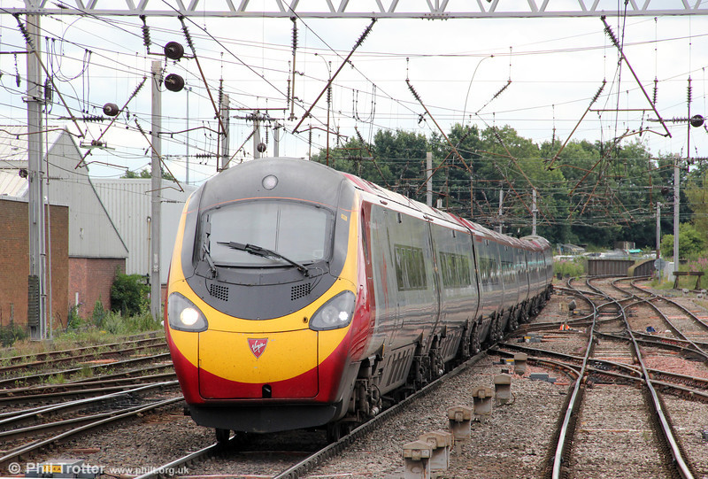 A VWC Pendolino approaches Carlisle forming 1S48, 0930 London Euston to Glasgow Central on 7th August 2012.