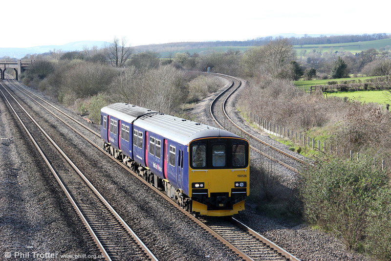 FGW's 150126 passes Llandevenny forming 2C81, 1500 Cardiff Central to Taunton on 19th March 2012.