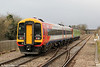 SWT's 158884, on hire to FGW, brings up the rear of 2O89, 1042 Gloucester to Weymouth at Cam & Dursley on 18th February 2012.