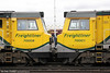 70008 and 70001 'Powerhaul' see eye to eye at Eastleigh on 5th May 2012.