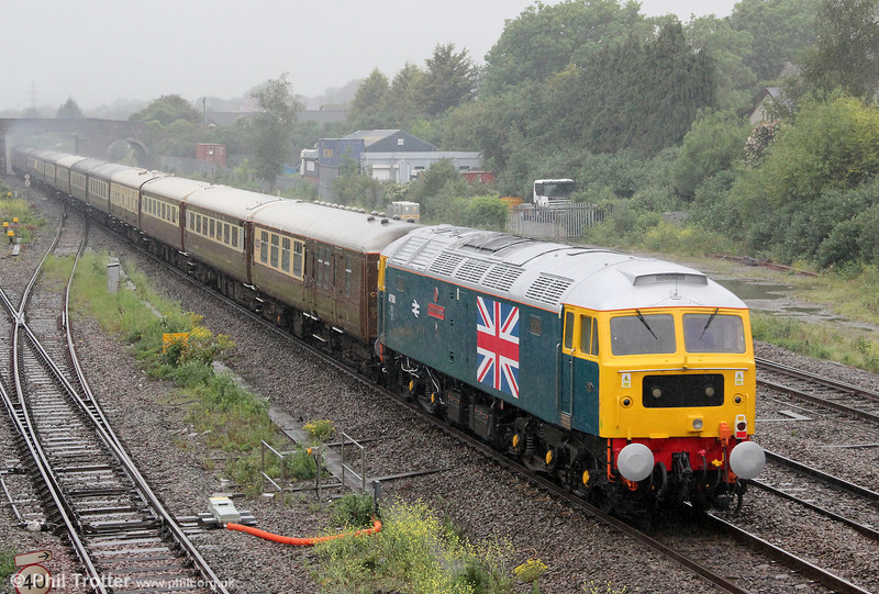 To commemorate the Diamond Jubilee, the Stratford 47 Group's 47580 'County of Essex' now has a full body height Union Jack applied in the same style as were Stratford Depot's 47163 and 47164 for the Silver Jubilee in 1977. The loco is seen at Magor bringing up the rear of 5Z39, 1506 Bristol Temple Meads to Crewe ECS on 3rd June 2012.