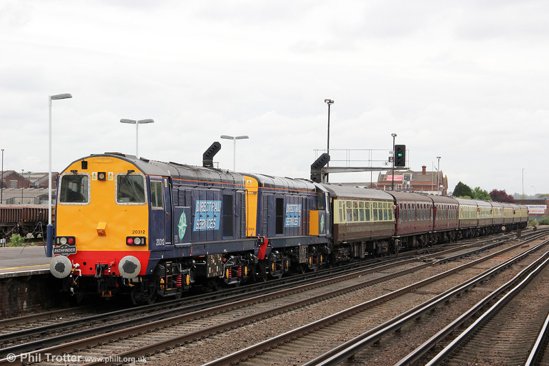 20312 and 20308 bring up the rear of Pathfinder's 1Z61, 0623 Crewe to Eastleigh Works 'The Hampshire Hotchpotch' as it heads into the works on 5th May 2012.