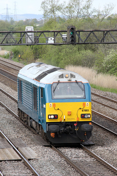 67003 passes Coedkernew with driver familiarisation run 0Z60, 0859 Cardiff Canton to Gloucester on 8th May 2012.