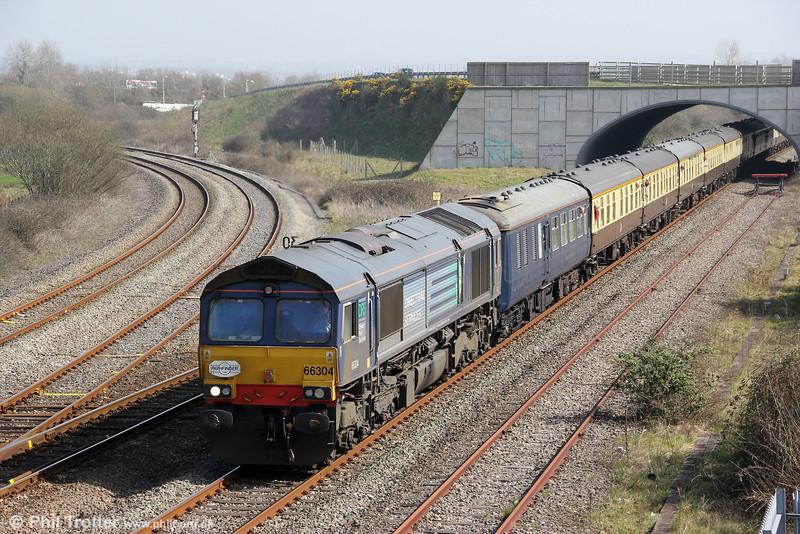66304 heads Pathfinder's 1Z66, 1036 Tondu to Cwmgwrach via GCG, 'The Coal Grinder' railtour through Llandeilo Junction on 24th March 2012.