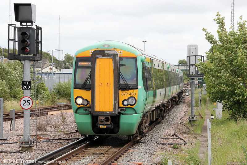 377460 approaches Havant forming 2N65, 1254 Littlehampton to Portsmouth & Southsea on 23rd June 2012.