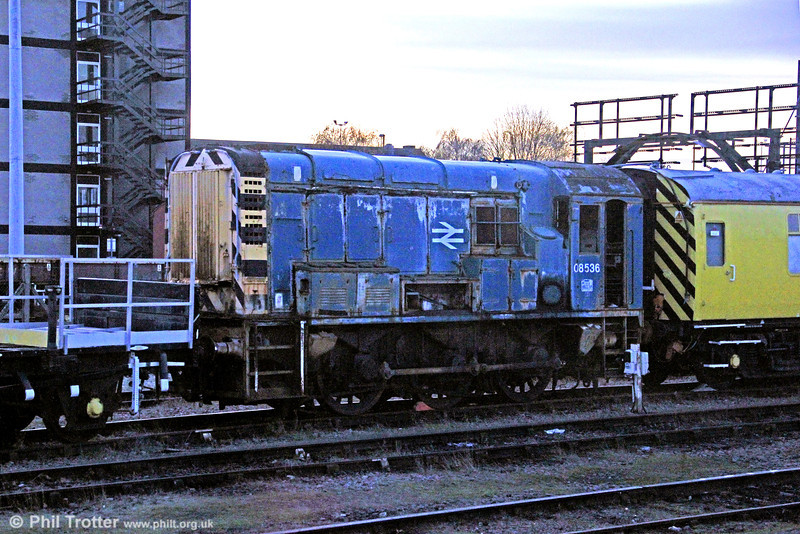 08536 will probably never run again. Withdrawn in 1995, it is seen at Derby RTC where it is gradually being stripped for spares on 29th November 2012.