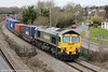 66535 is seen at Undy heading 4O51, 0958 Wentloog to Southampton on 20th March 2012.