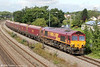 66063 passes Undy with 8Z70, 1025 East Usk to Bristol Barton Hill with crippled wagons for repair on 20th August 2012.