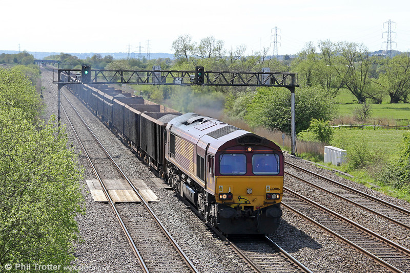 66006 passes Coedkernew with 6A97, 1234 Port Talbot (Grange) to Acton Yard on 8th May 2012.