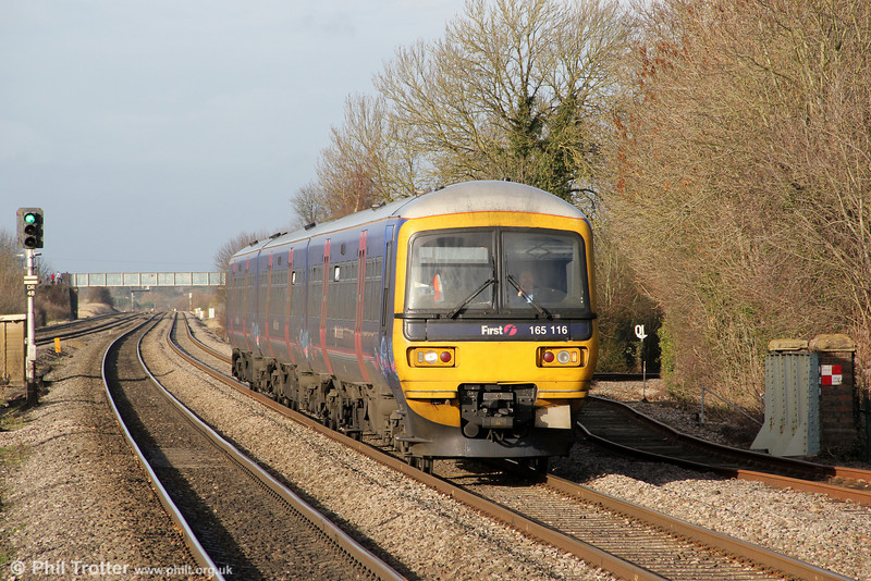 165116 approaches Cholsey in the winter sunshine forming 2P48, 1137 Oxford to London Paddington on 15th December 2012.