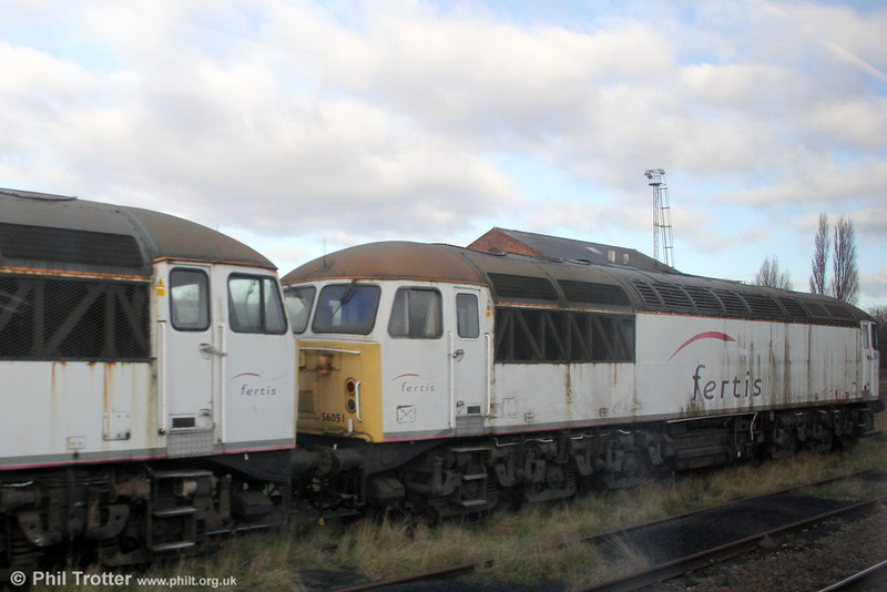 Soon to be added to the Colas fleet, 56051 awaits overhaul in store at at the premises of Nemesis Rail, Burton upon Trent on 28th November 2012.