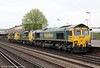 66534 'OOCL Express' with 70001 'Powerhaul' and 70008 at Eastleigh, running as 0Y69, 1102 Southampton Maritime to Eastleigh T&RSMD on 5th May 2012.