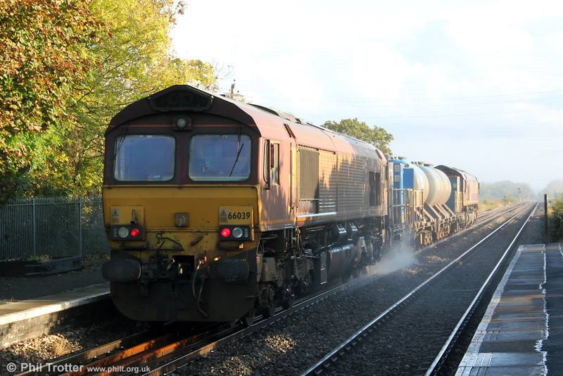 66039 brings up the rear of 3S61, the West Wales RHTT at Llangennech on 13th October 2012. The train was headed by 66109.