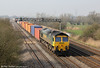 66533 'Hanjin Express/Senator Express' passes Coedkernew with 4O51, 0958 Wentloog to Southampton on 23rd March 2012.