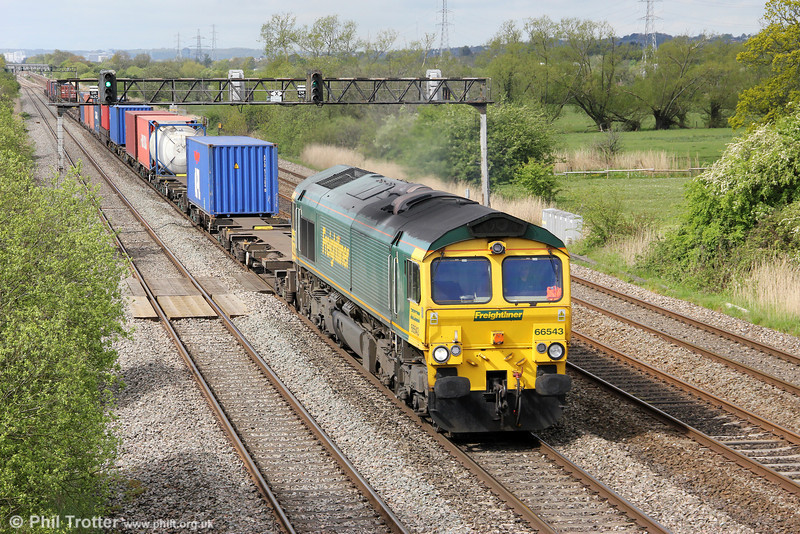 66543 is seen at Coedkernew with 4O51, 0958 Wentloog to Southampton on 8th May 2012.