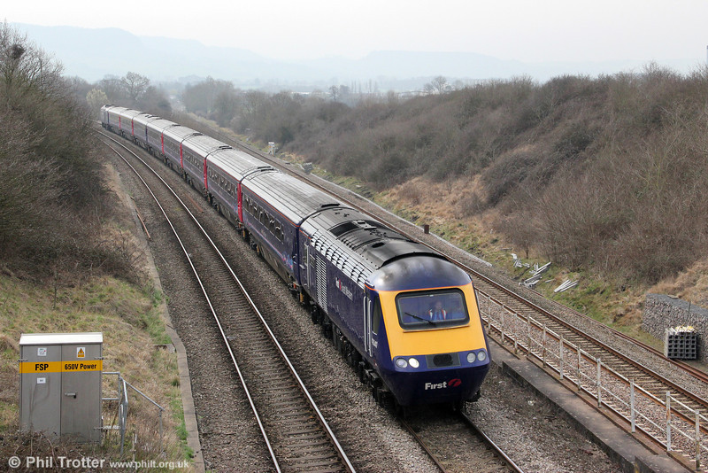 43041 'Meningitis Trust' approaches Standish Junction with 1G21, 0948 London Paddington to Cheltenham Spa on 22nd March 2012.