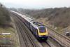 43041 'Meningitis Trust' approaches Standish Junction with 1G21, 0948 London Paddington to Cheltenham Spa on 22nd March 2012.