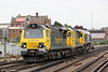 70008 draws into Eastleigh with 70001 'Powerhaul' and 66534 'OOCL Express' in tow on 5th May 2012. The trio were running as 0Y69, 1102 Southampton Maritime to Eastleigh T&RSMD.