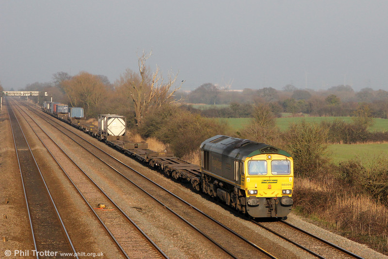66594 'NYK Spirit of Kyoto' at Coedkernew with 4V50, 1054 Southampton to Cardiff Wentloog on 1st March 2012.