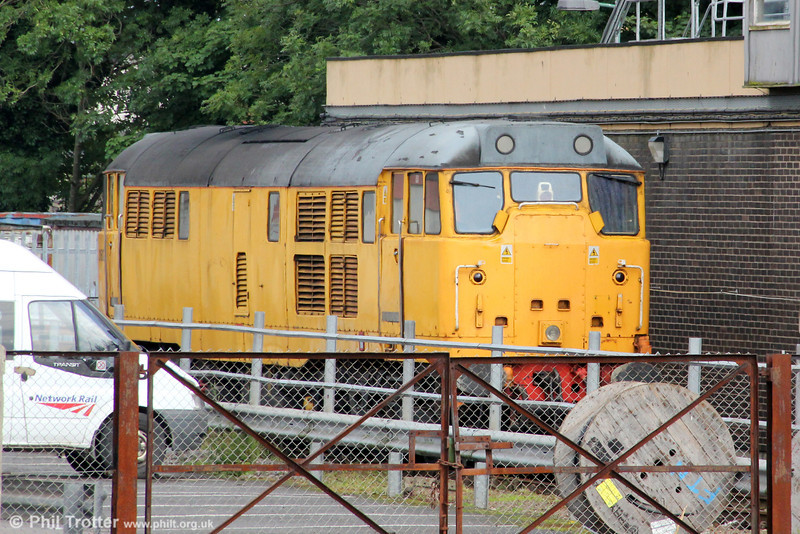 Having arrived at Cardiff earlier in the day to collect wagons from Cardiff Canton, DCR's 31602 is seen stabled at Cardiff Riverside; it transpired that the wagons weren't available! 14th July 2012.
