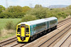 Newly refurbished 158839 passes Coedkernew forming 2L59, 1345 Cheltenham Spa to Maesteg on 8th May 2012.