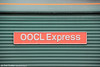 Nameplate of Freightliner class 66 66534 'OOCL Express' at Eastleigh on 5th May 2012.
