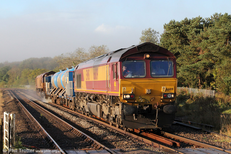 Winter approaches once again, and the autumn Railhead Treatment Train (RHTT) season has begun. 66109 heads 3S61, the West Wales RHTT through Llangennech on 13th October 2012. This marathon working commences at Margam at 1858 (previous evening) running via Barry, Coryton, Bargoed, Maesteg, Pembroke Dock, Fishguard, Milford Haven, Radyr, Bargoed (again) and Barry, finishing at Margam at 1531. Classmate 66039 was at the rear.