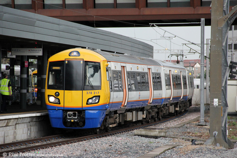 The London Overground class 378s have been covered adequately for now, in previous years. 378217 awaits departure from Stratford forming 2N53, 1815 to Richmond on 25th August 2012.