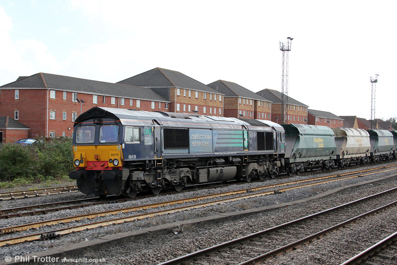 Former DRS 66419 after arrival at Pengam sidings with Freightliner's 6B75, 1338 from Jersey Marine on 15th August 2012.